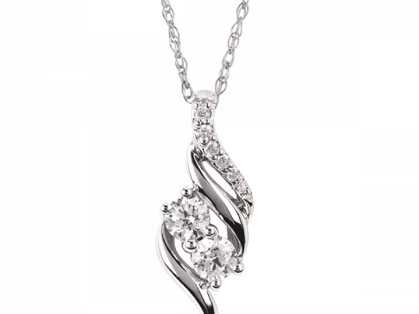 Diamond Two Stone Jewelry - Diamond Two Stone Pendant